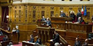 André Gattolin dans l'hémicycle du Sénat